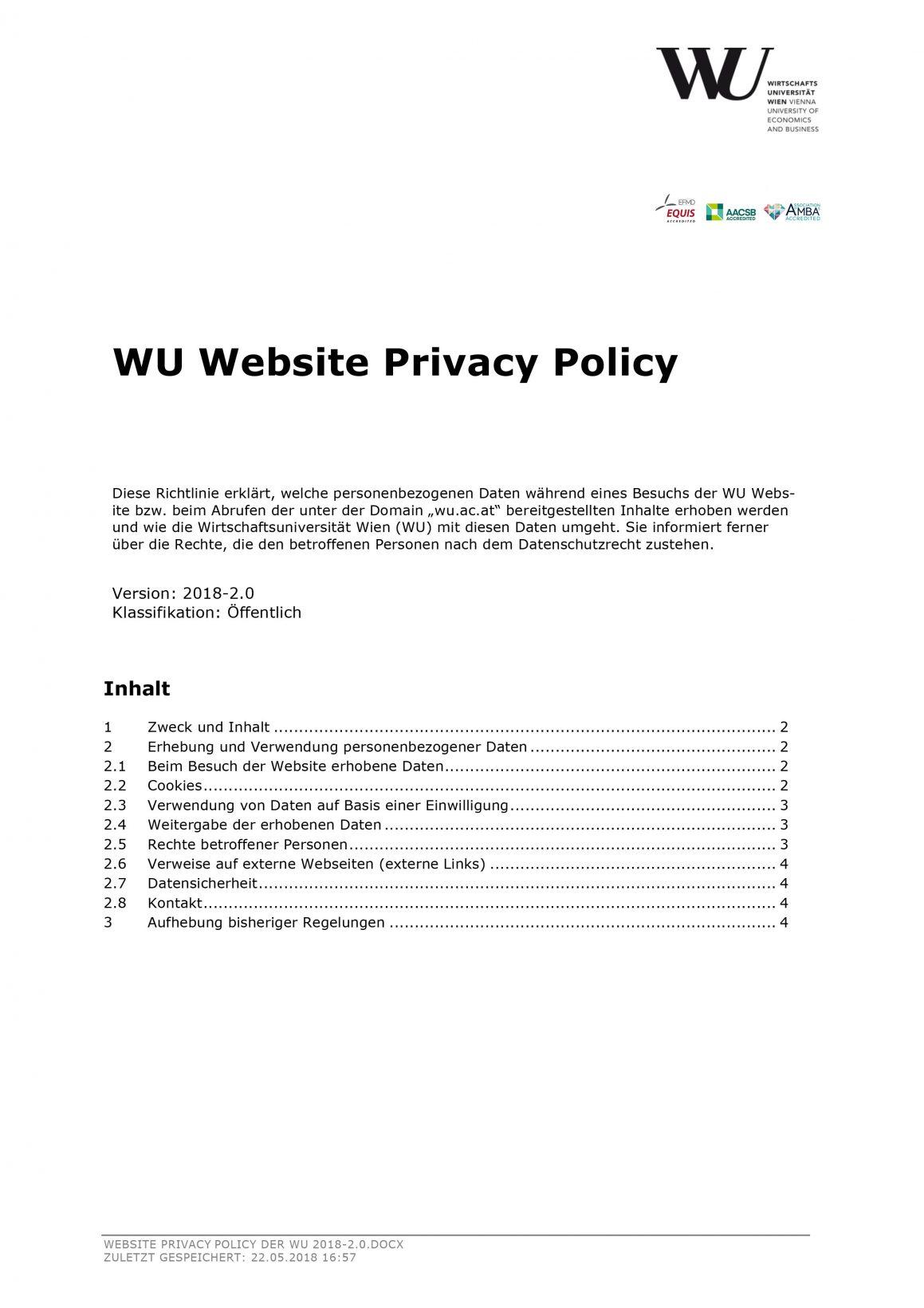 Website Datenschutzrichtlinie