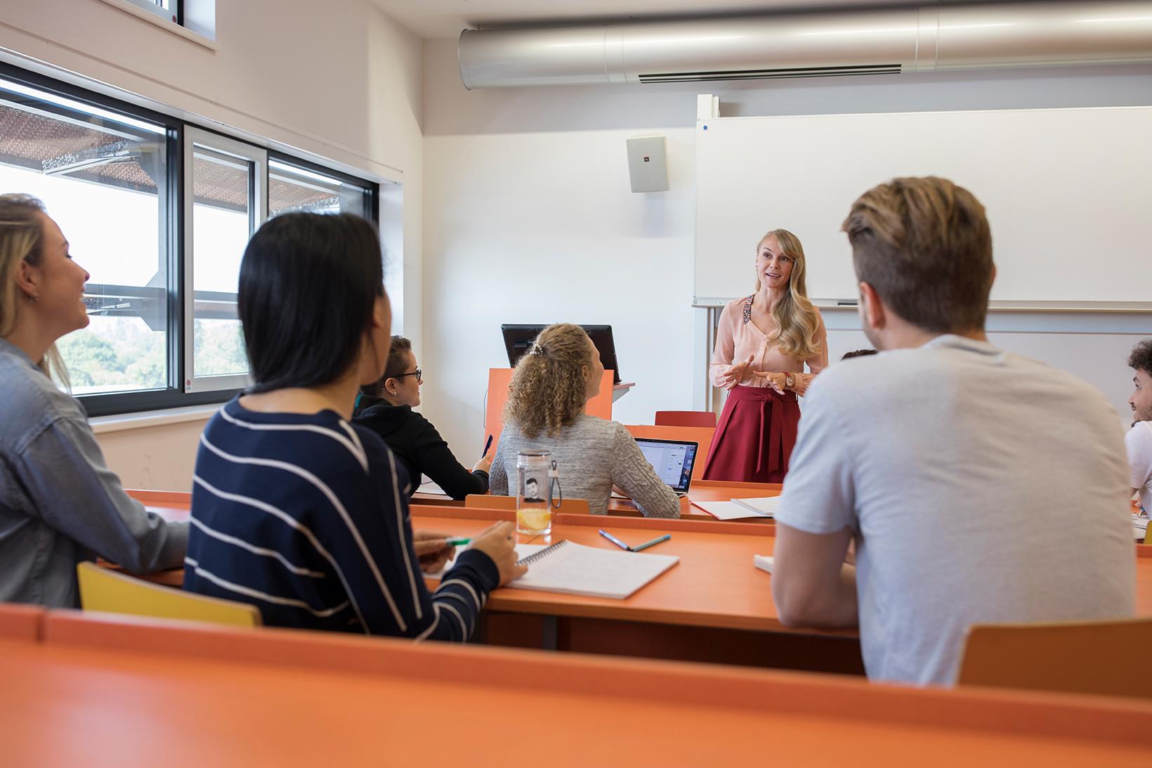 Unterricht im Hörsaal: eine Vortragende spricht vor Studierenden